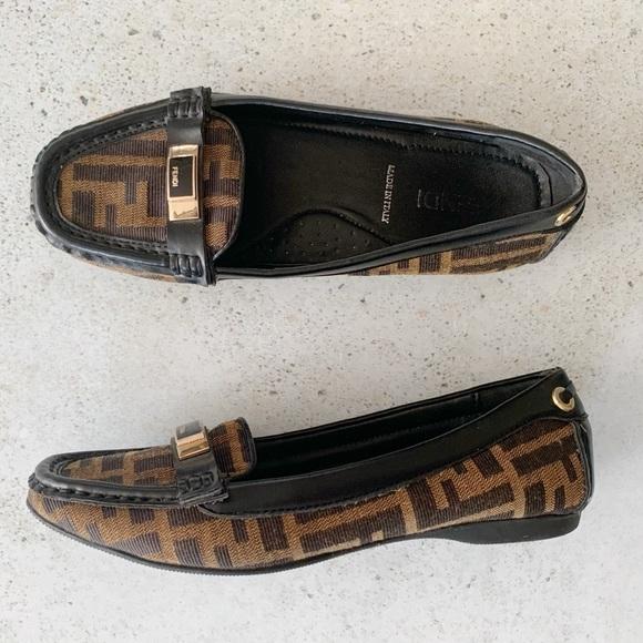 Fendi Zucca Ff Monogram Logo Loafers